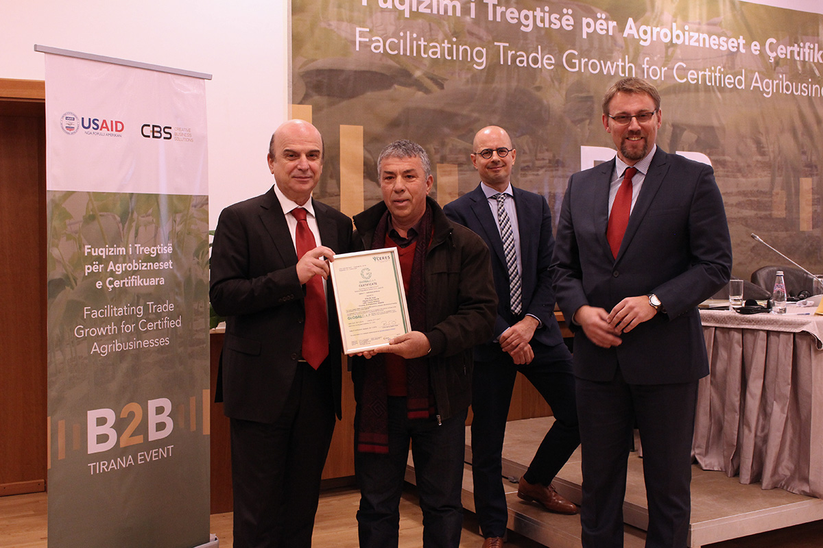 Minister of Agriculture, Edmond Panariti giving to Elite AE Company the GlobalG.A.P. Certification, stating that our aim consists at reducing the agricultural imported products as well as promoting domestic production. Photo: AgroWeb